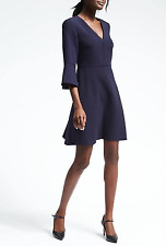 NWT Banana Republic $118 Flutter Sleeve Dress Navy Sz 6