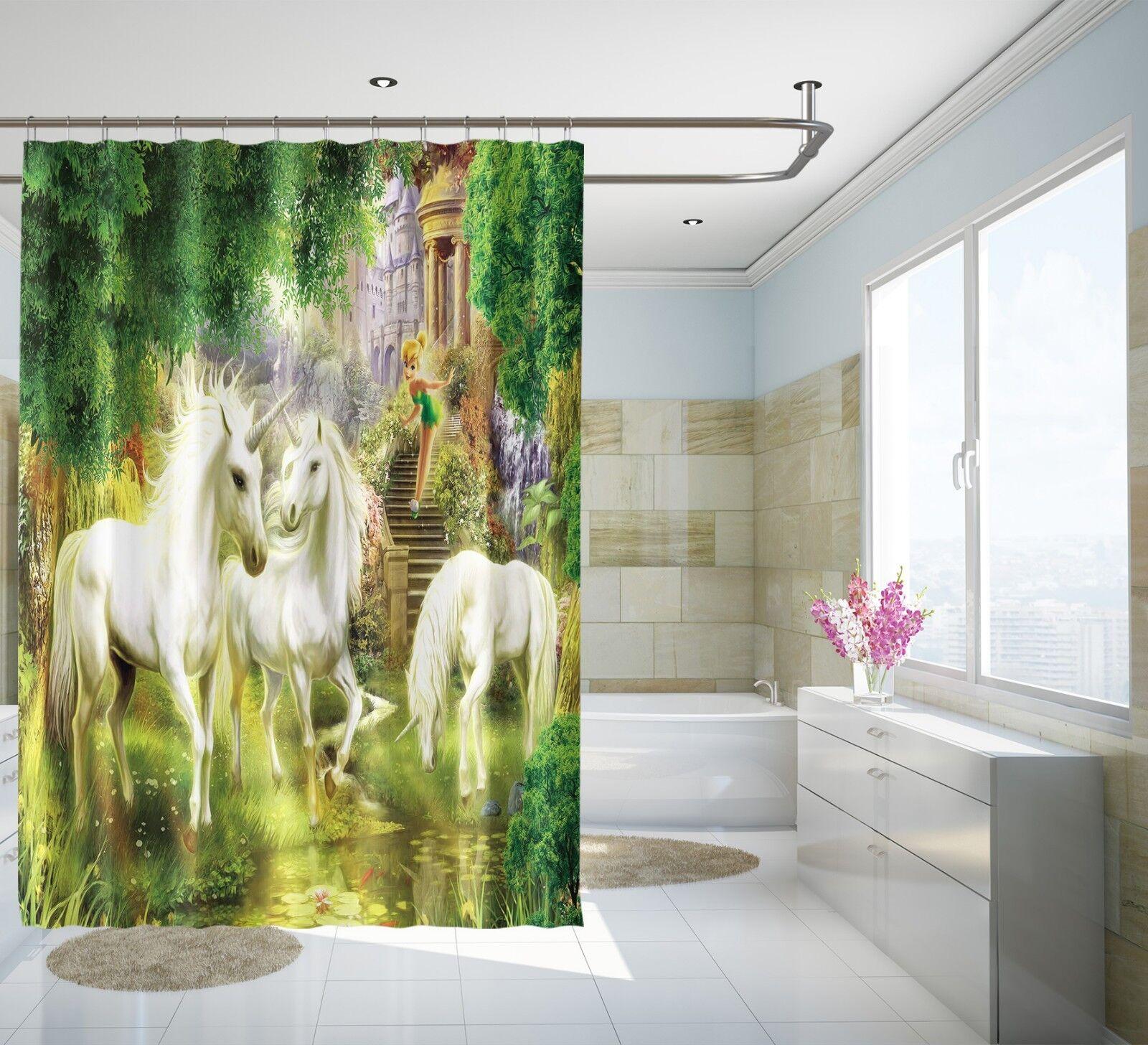 3D Einhorn Schloss Schloss Schloss 7 Duschvorhang Wasserdicht Faser Bad Daheim Windows Toilette   ein guter Ruf in der Welt  a94623