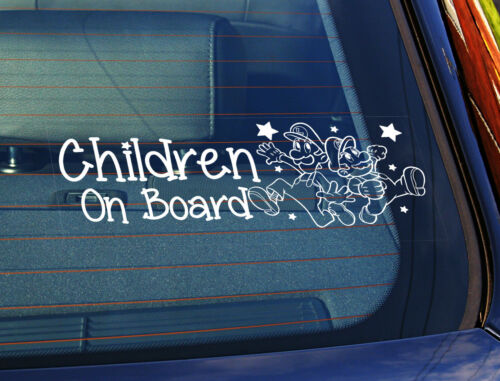 Static Cling Window Car Sign//Decal ChildrenOn Board Super Mario 100mm x 250mm 23
