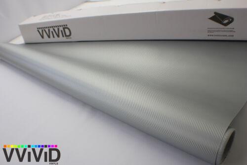Vvivid 3Mil Matte Silver Carbon Fiber Vinyl Car Wrap Decal