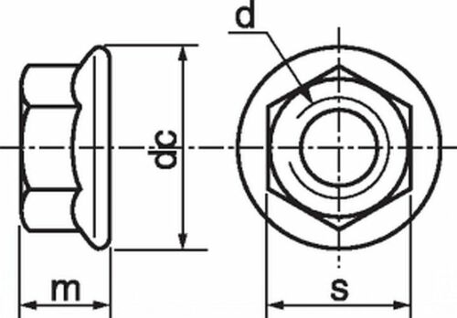 Flange-Nuts-M4-M5-M6-M8-M10-M12-High-Tensile-Non-Serrated-pack-x-10