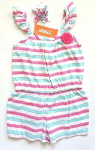 NWT-Gymboree-HULA-RESORT-6-Romper-Outfit-Tank-Teal-Pink-Striped-Shorts-Hair-Clip