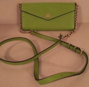 8d44c9941b8a Michael Kors Jet Set Envelope Wallet Bag w/ Chain Strap Green Leather