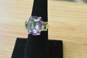 12-61ct-Amethyst-Quartz-3-Stone-Ring-Sterling-Silver-Size-7-Nice