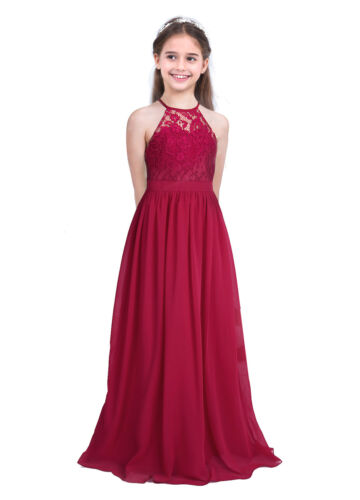 Girls Halter Flower Lace Junior Bridesmaid Dress Party Wedding Long Gown Dresses