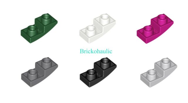 Lego 10 x Curved slope no studs 2x1 part 11477 choose your colour.