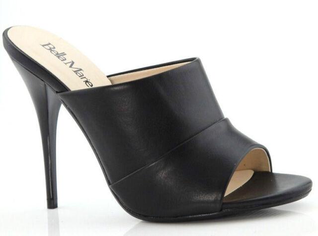 Black High Heel Slide Mule Stiletto Open Toe Womens Shoes Dress Sandals