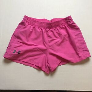 Under-Armour-Loose-Size-YLG-Girls-L-Solid-Pink-Athletic-Shorts-A1224