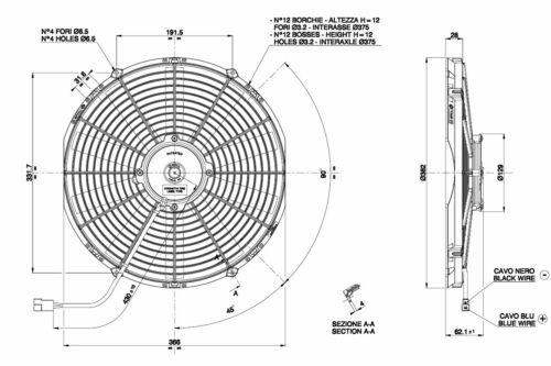 Elektrolüfter 12V Spal Lüfter 382mm VA08-AP51//C-23A saugend 2220m³//h