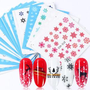 30-Hojas-Copo-de-Nieve-Navidad-Navidad-Filigrana-Decoracion-De-Unas-Agua-Calcomania-Pegatinas-Set
