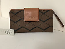 NEW ARRIVAL! FOSSIL SYDNEY TAB INDEXER BROWN CLUTCH LEATHER BIFOLD WALLET SALE