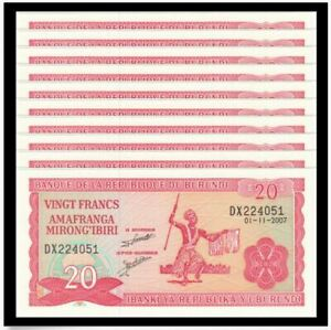 Burundi-20-Francs-2007-10pcs-Running-Number-UNC