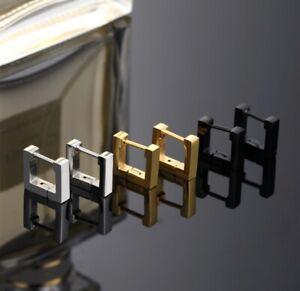 1-Paar-Quadrat-Creole-Edelstahl-Ohrringe-Gold-Silber-Schwarz-Klappcreole-eckig