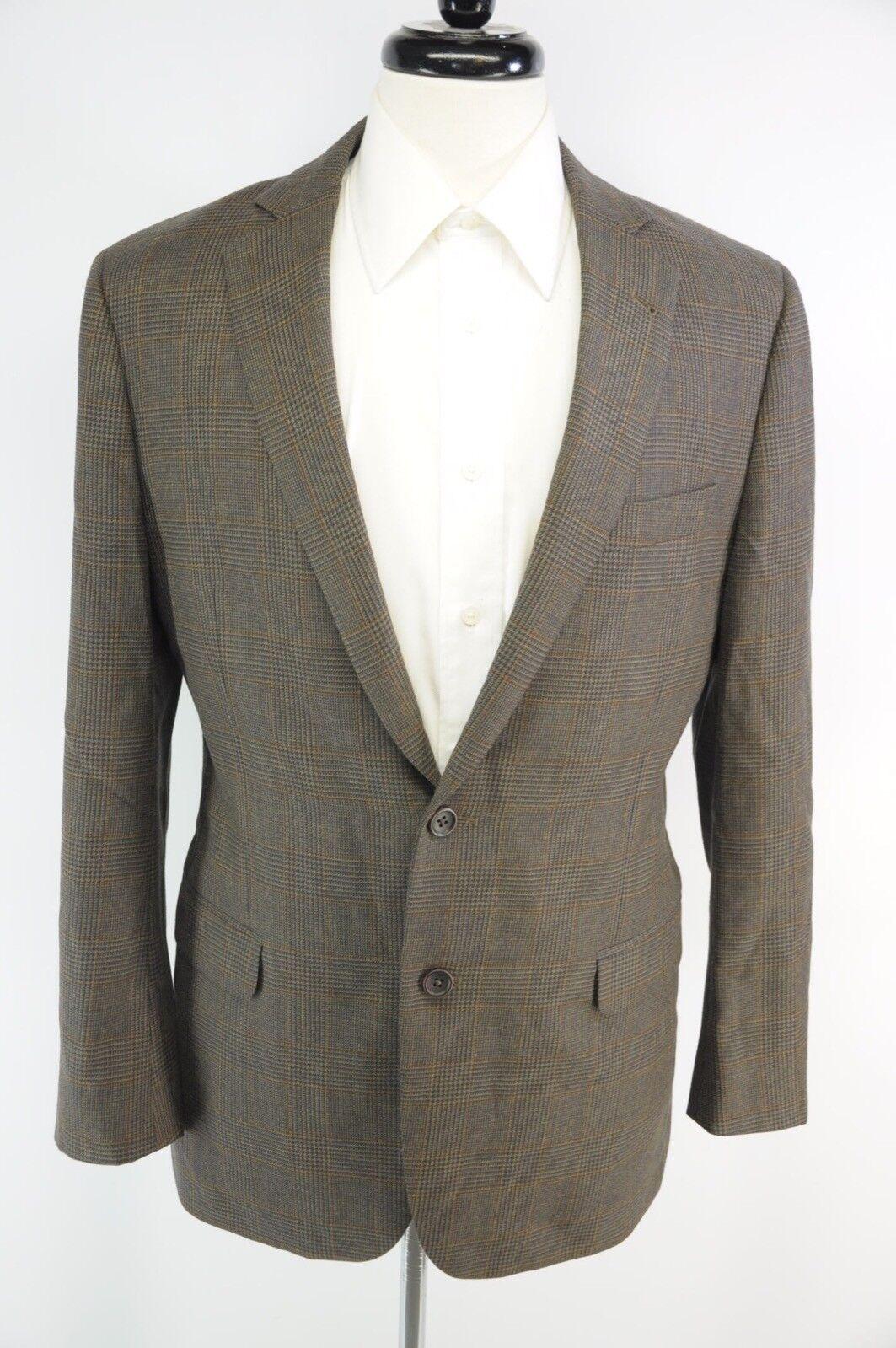 Brooks Bredhers 1818 Fitzgerald Brown bluee Glen Plaid 2 Btn Wool Blazer 40R 41R