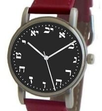 Hebrew Numbers Brushed Chrome Watch Has Black Dial With Red Leather Strap