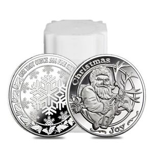 Roll-of-20-1-oz-Santa-amp-His-Reindeer-Silver-Christmas-Round-999-Silver-Lot
