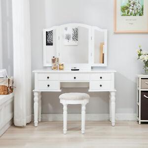 Image Is Loading Folding Mirror Vanity White Dressing Table Set Makeup