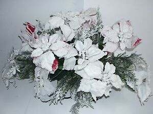 Christmas-Flocked-Red-White-Poinsettia-Cemetery-Tombstone-Saddle-Ship-Nationwide