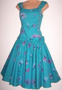 Laura-Ashley-Vintage-Daisy-Floral-Annees-50-Full-Circle-Rockabilly-Swing-Robe-UK-10
