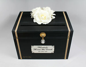 Image Is Loading Black Ivory Amp Gold Wooden Wedding Card Box