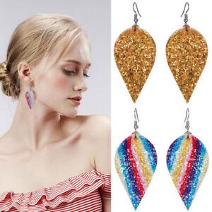 Boho-Women-Leaf-Teardrop-Leather-Earrings-Ear-Stud-Hook-Drop-Dangle-Jewelry
