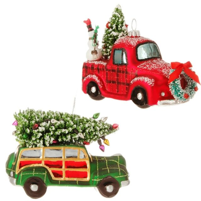 Raz Set Of 2 Gl Woody Truck Ornaments 4 3516556