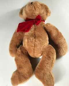 Chrisha-Playful-Plush-Bear-VTG-1988-Large-30-034-Stuffed-Beans-Giant-Jumbo-Bow-80s