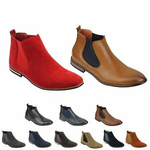 mens suede chelsea leather boots italian style smart