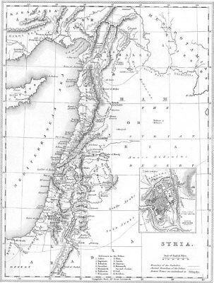 Old 1840 Engraved Map of SYRIA ISRAEL PALESTINE JERUSALEM TURKEY Damascus Damascus Map on libya map, umayyad mosque, medina map, sanaa map, amman map, constantinople map, asma al-assad, belgrade map, bashar al-assad, jordan map, aleppo map, ankara map, sinai peninsula map, syria map, euphrates river map, canaan map, muscat map, tyre map, beirut on a map, mecca map, jerusalem map, iraq map, persia map,