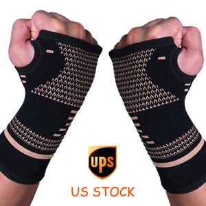 Copper-Wrist-Brace-Compression-Gloves-Carpal-Tunnel-Support-Hand-Arthritis-RSI