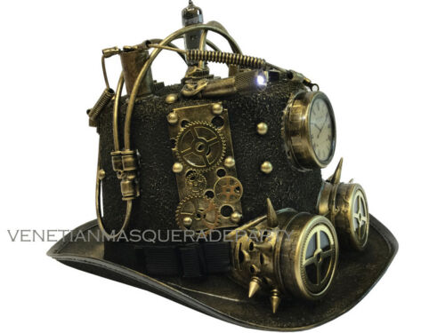 Clock goggles Male Steampunk Light up Top Hat Costume Burning Man Midnight party