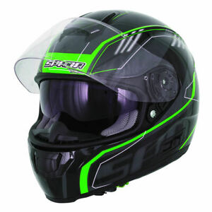 Spada-SP-16-Gradient-Motorcycle-Helmet-BLACK-GREEN-Sun-Visor-ACU-Gold