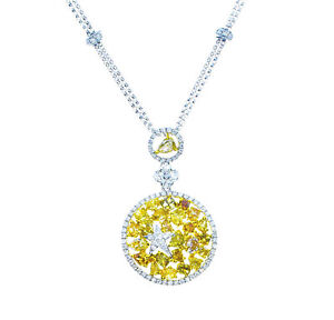 4-22ct-Fancy-Intense-Yellow-Diamonds-Necklace-18K-All-Natural-9-Grams-Real-Gold