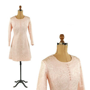 Vintage-60s-Pale-Pink-Floral-Stain-Brocade-Long-Sleeve-Cocktail-Party-Dress-S-M