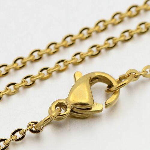 Halskette 45cm Edelstahl dore Anti-allergisch Glied 1mm Verschluss