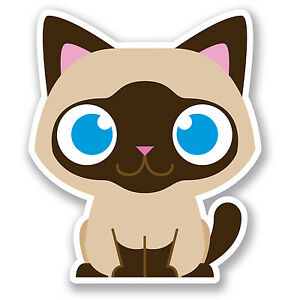 2 x Brown Cat Vinyl Sticker iPad Laptop Car Bike Cute Kids Cartoon Funny #5033