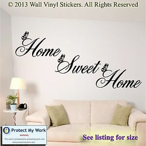 Image Is Loading Home Sweet Home Wall Quote Sticker Wall Decals  Part 89