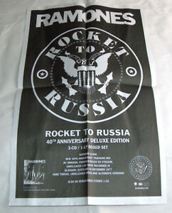 "The Ramones 23"" X 14"" 40th Anniversary Rocket to Russia Cd Lp Promo Music Poster"