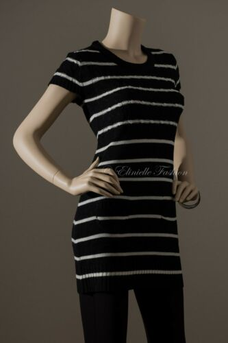 New Women Fashion Stripe Scoop Neck Short Sleeve Sweater Dress Black Ivory S M L