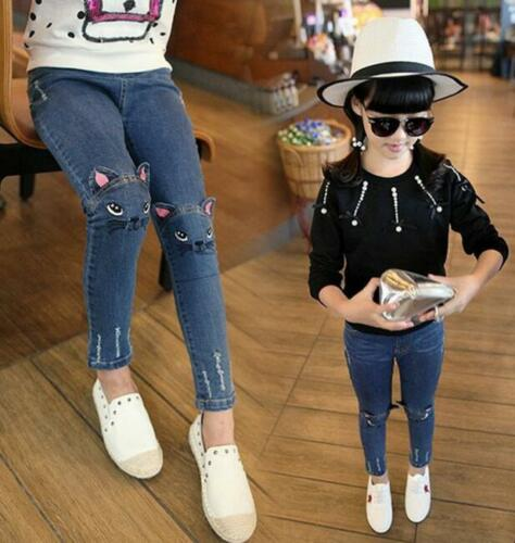 Cute Cat Print Kids Girls Baby Denim Skinny Pants Toddler Stretch Jeans Trousers