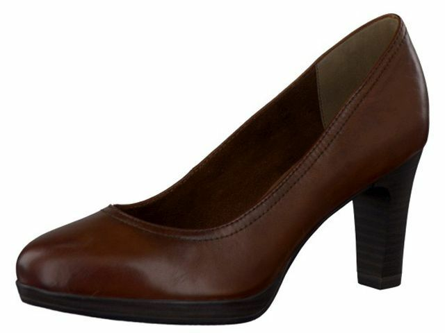 Tamaris 22410 Tan (Cognac) Leather Work Office Cabin Crew Platform Court shoes