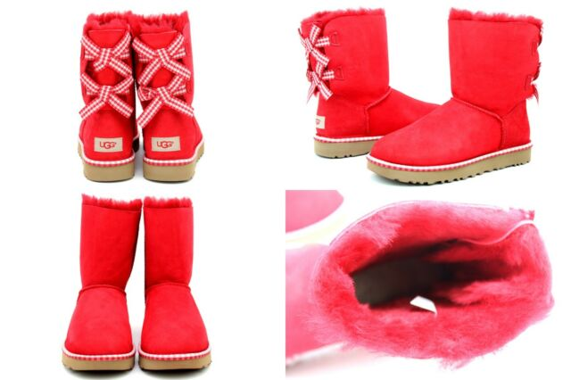 6aa47440e2d UGG Australia Women's Bailey Bow Gingham BOOTS Red Size 6 Display Pair