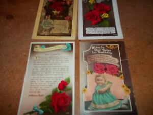 3-x-Vintage-Happy-Birthday-rose-postcards-the-Fragrant-Minute-40s-50s-USED