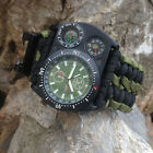 8 in 1 Compass Slip Slide on Watch Wrist For Survival Paracord Bracelets Rope