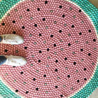 Freckled Melon Color 100% Wool Carpet Felt Ball Designer Handmade Mat Round Rug