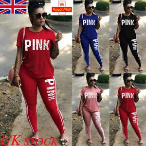 UK 2PCS Ladies Summer Tracksuits Set Lounge Wear Women Tops Casual Suit Pants