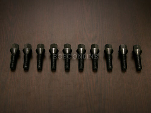 Cone Seat 12x1.5 Threads 10pc Black Extended Lug Bolts 30mm Shank Length