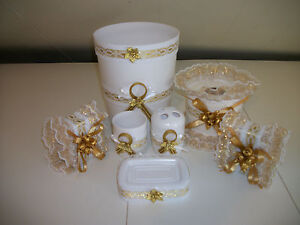 white and gold bathroom accessories 7pcs white and gold bath accessories set ebay 24600