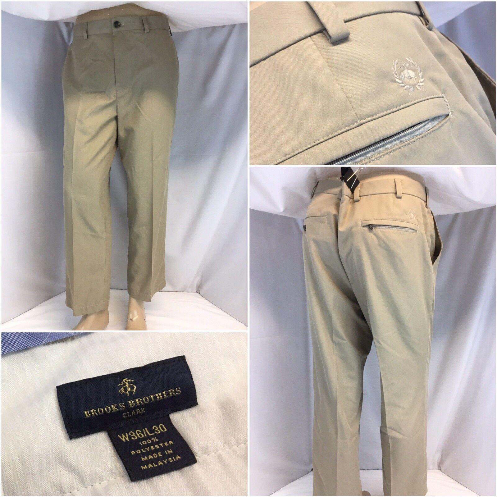 Brooks Bredhers Clark Pants 36x26 Tan Poly Flat Front Worn Once YGI J8-157