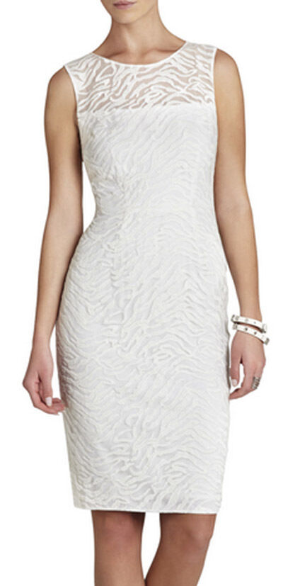 BCBG OFF Weiß  ALICE  SLEEVELESS LACE EMBROIDErot DRESS NWT 8